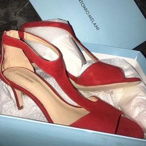 Red 2 inch velvet heels